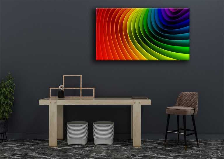The colours of a rainbow swirl