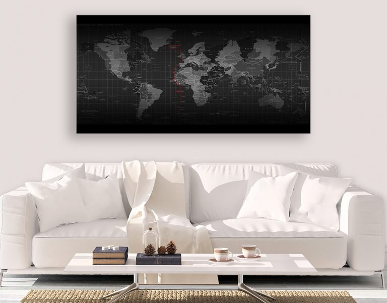 Black map of the world