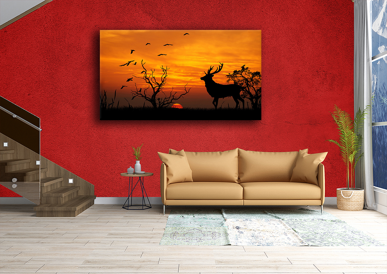 Stunning silloutte of deer in nature