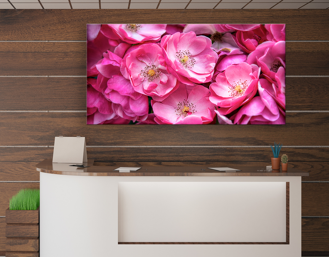 wall art of Pretty pink bouquet on high quality canvas prints