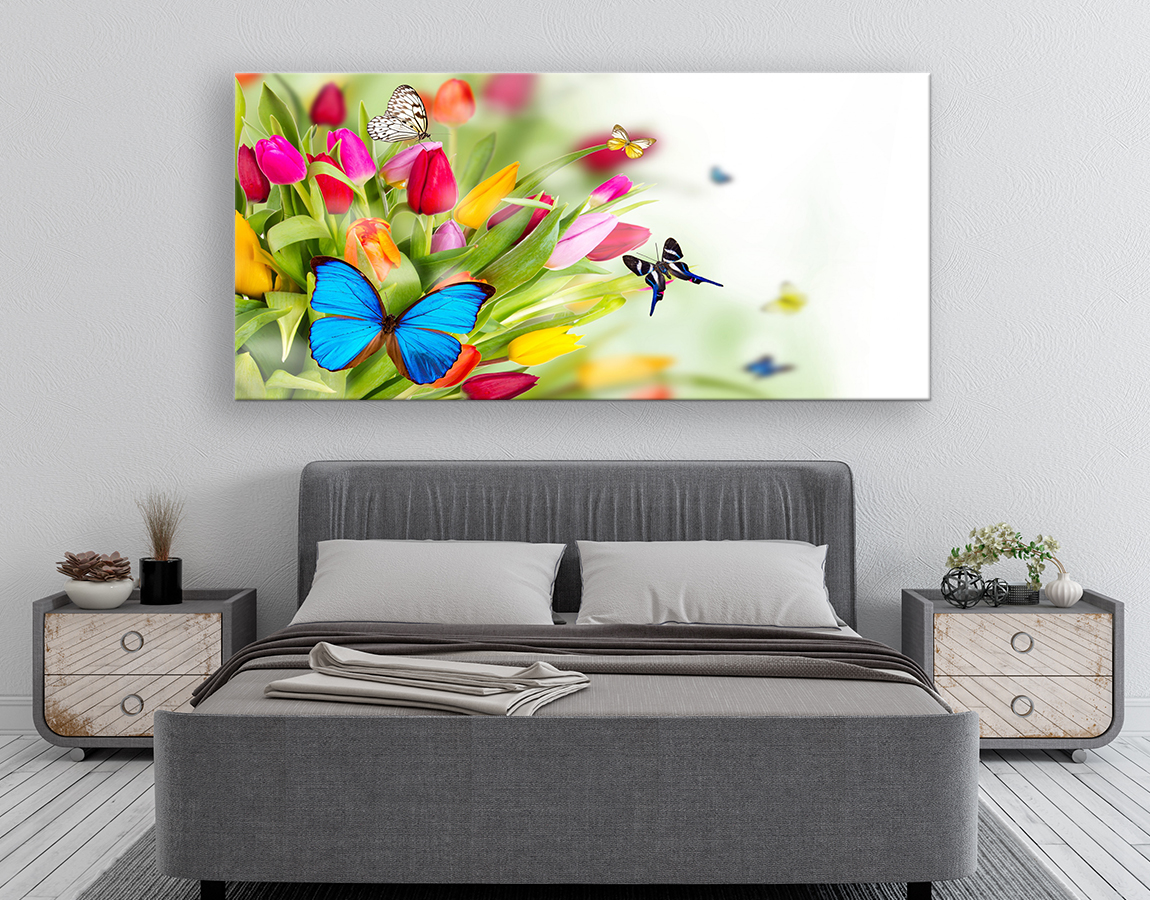 buy exquisite xxl canvas prints Spring tulips and butterflies wall art