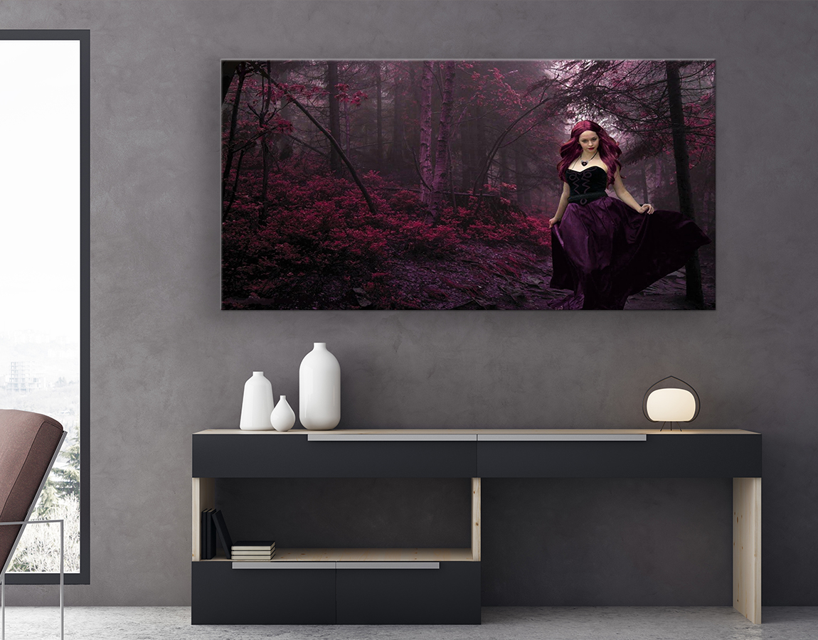 Red girl in forest