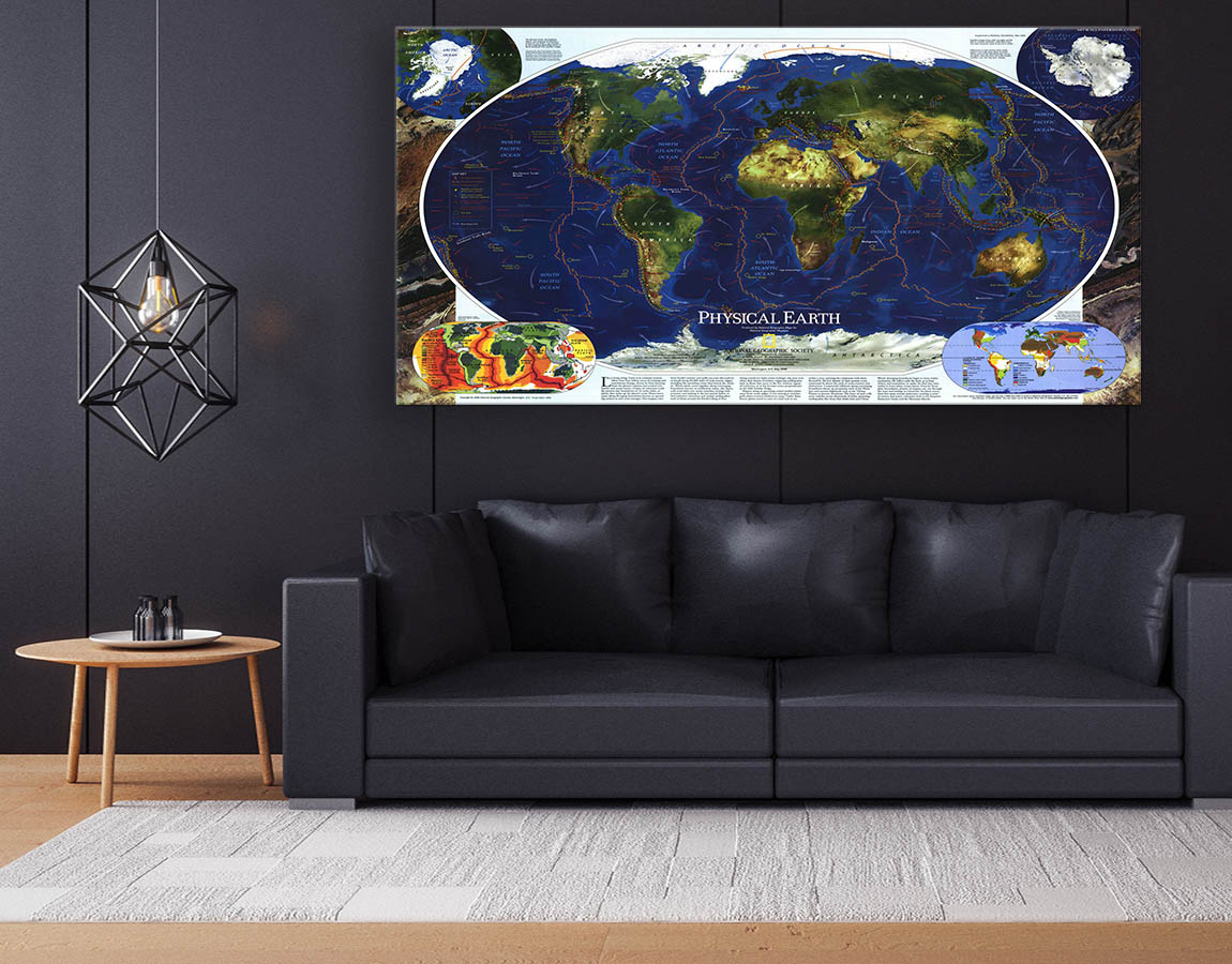 Map with dark blue oceans
