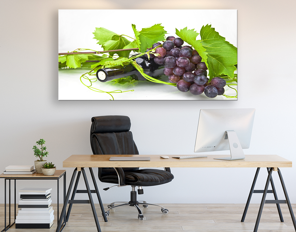 Grapes and bottle