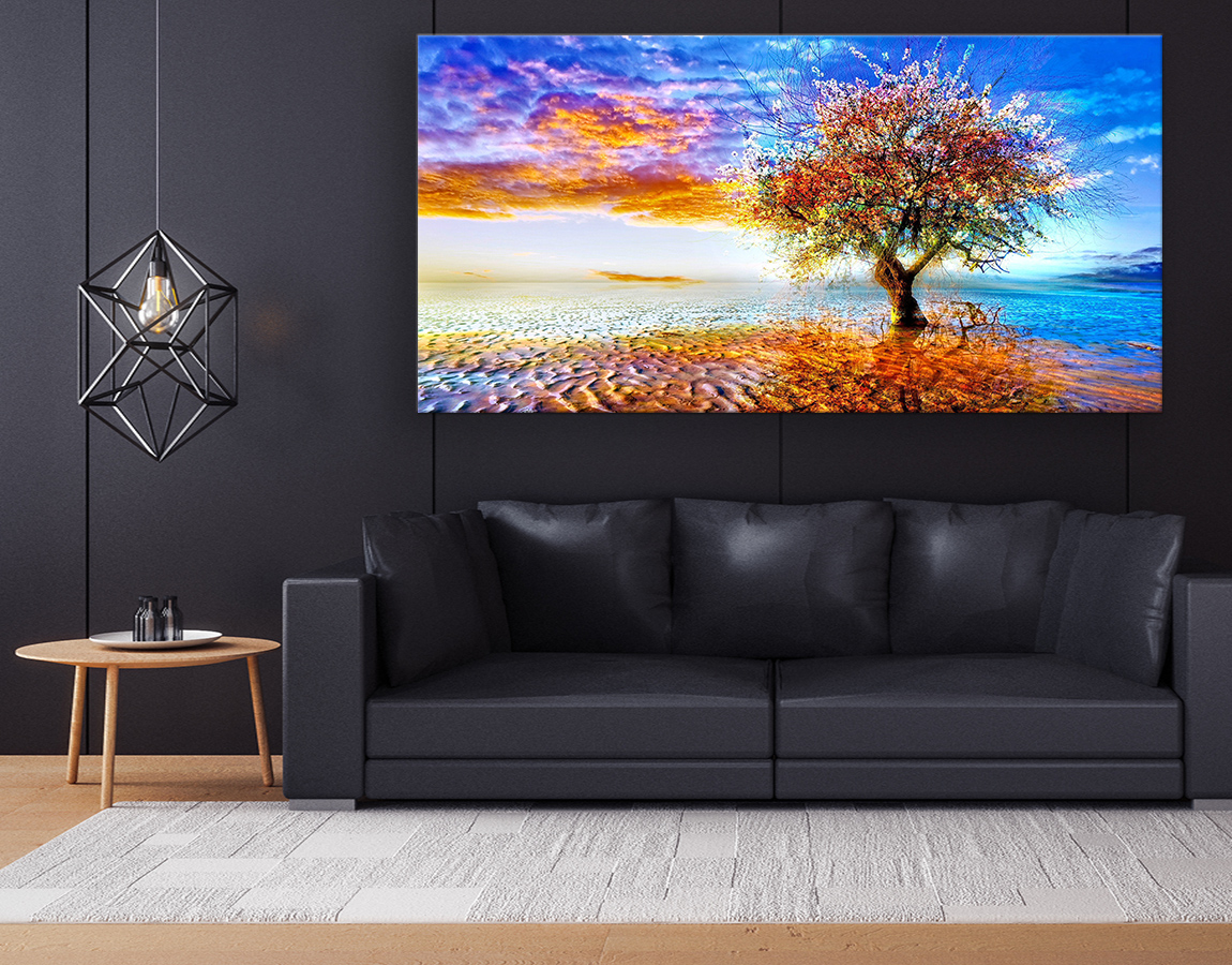 wonderful high quality wall art of Sunset tree in paradise canvas prints