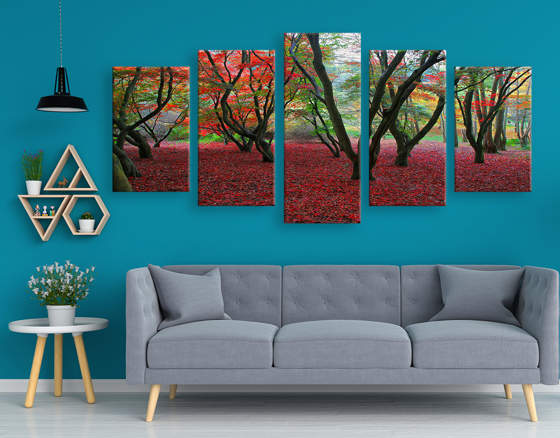 stunning high quality wall art of Red leaf forest on canvas prints