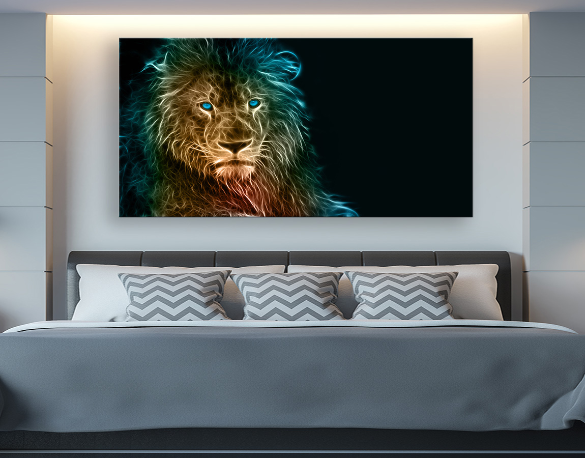 Abstract Green Eyed Lion single landscape piece available in a range of sizes