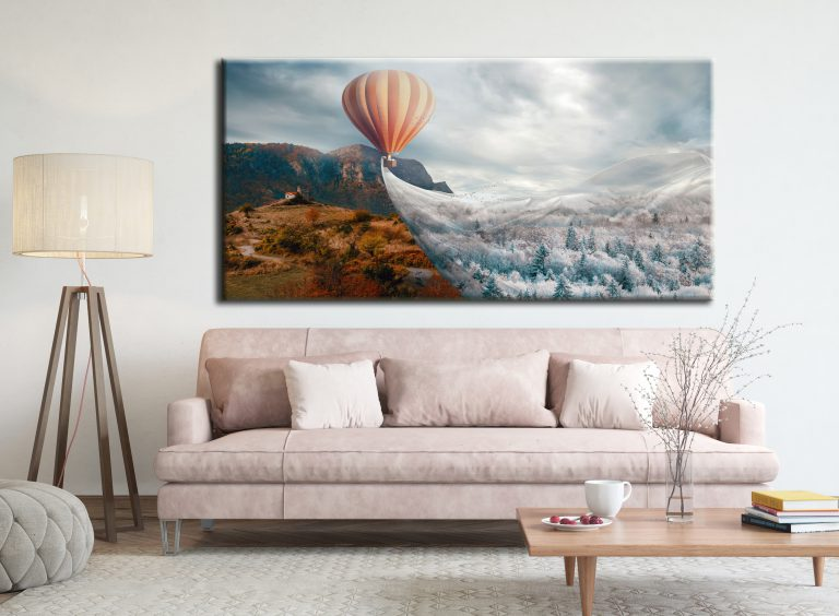 Beautiful large canvas prints of this hot air balloon flying winter over the forest