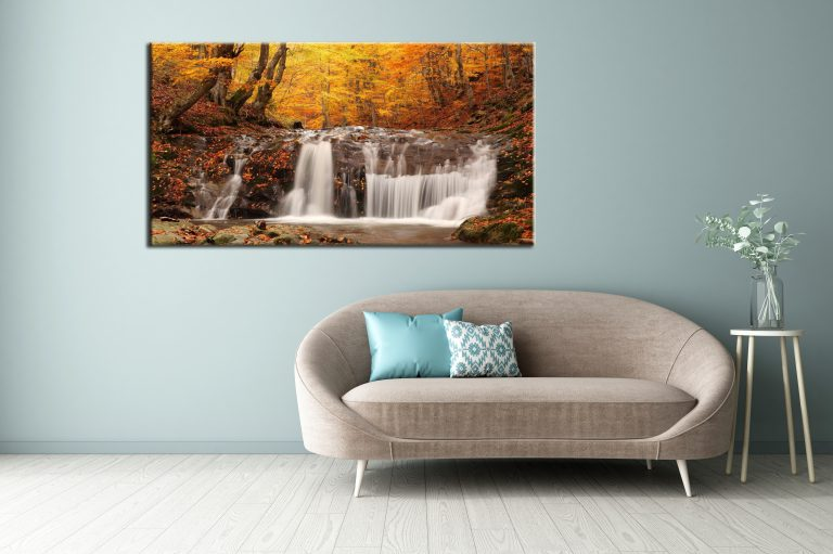 Large wall art pictures of an Autumn stream canvas prints