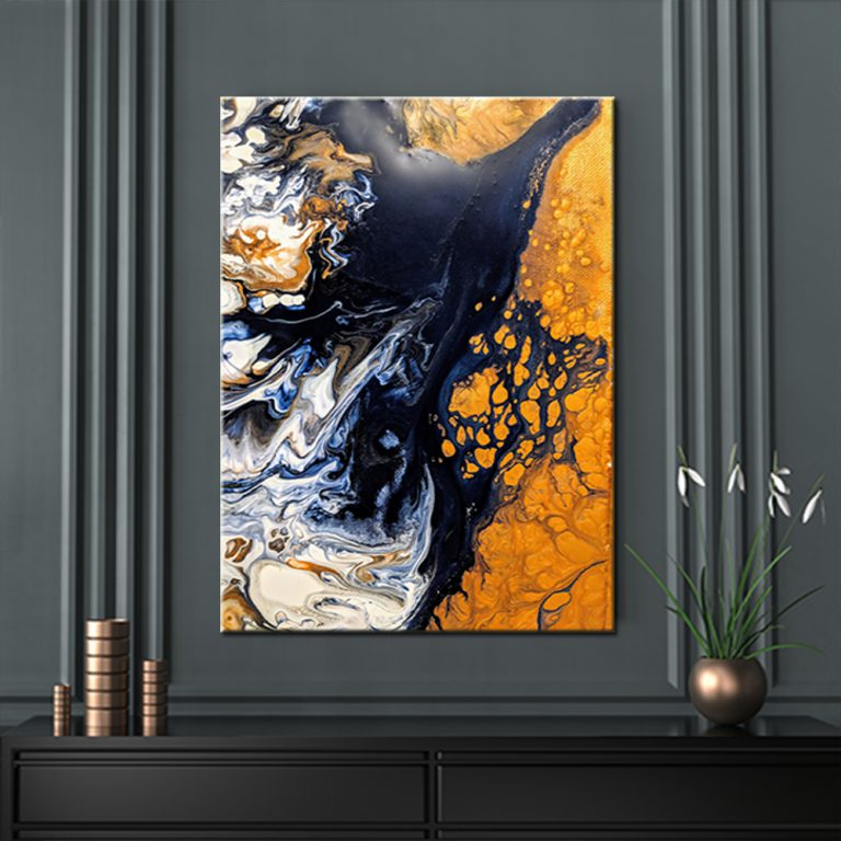 The Navy & Gold Abstract canvas print is a portrait print and is available in 4 sizes, s, m, l, xl